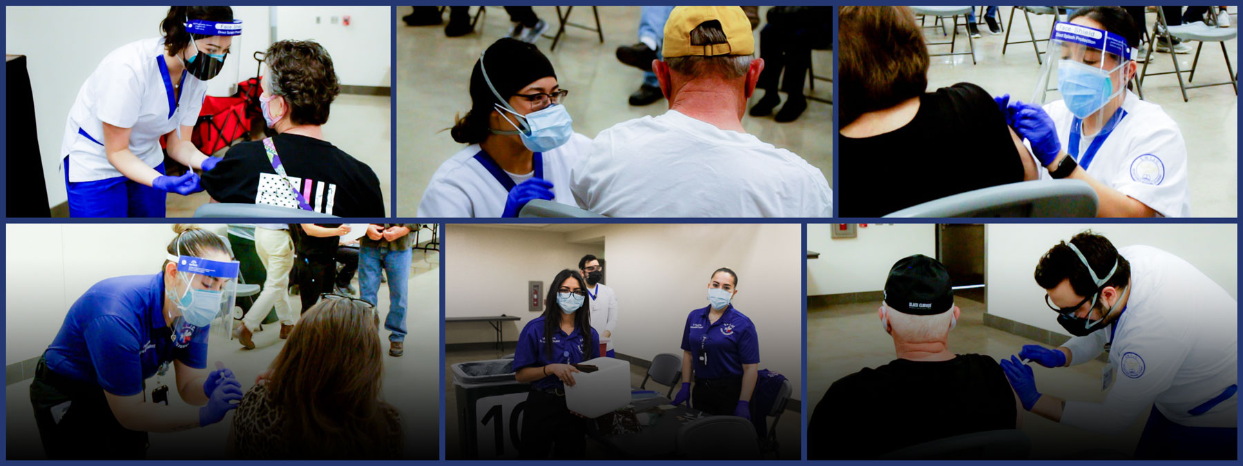 Collage of SWTJC Patient Care Technician Student pictures at COVID-19 Vaccination Clinics